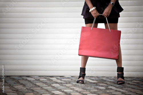 Shopping woman holding bag