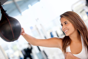 Woman boxing at the gym