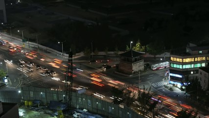 Time lapse traffic at night in Taipei City.