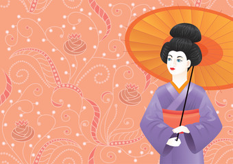 Japnese woman on pink pattern-background