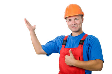 builder in uniform pointing up