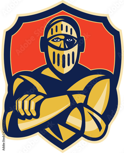 knight arms crossed with shield