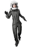 Fototapety astronaut fashion stand woman space suit helmet