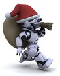 robot with christmas gift sack