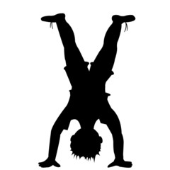 Silhouette of kid playing