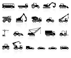 Set of transport silhouette