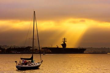 Sun Shining Down on Ship