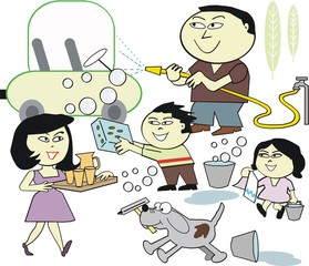 Asian family cleaning car cartoon