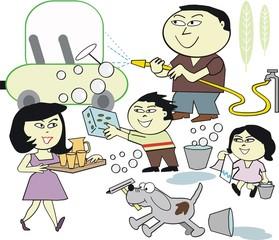 Asian family cleaning car cartoon