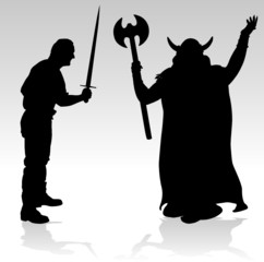 two warriors black vector silhouettes