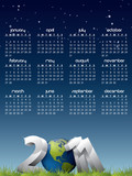 English calendar for year 2011 with Earth globe in grass