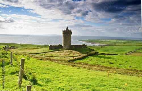 Poster ancient old irish castle in doolin, ireland