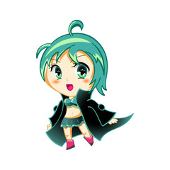 Cute anime chibi girl in space traveller coat