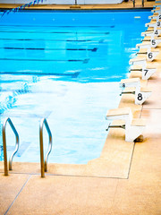 Start position with numbers in swimming pool