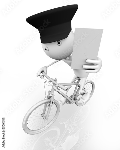 3d. A postman on a bike with a letter