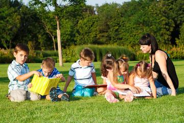 Elementary students reading books