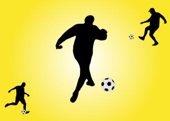 three soccer players