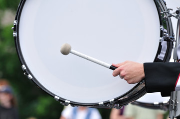 Drummer Playing Bass Drum in Parade