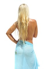 Back View of Topless Girl with Long Blonde Hair