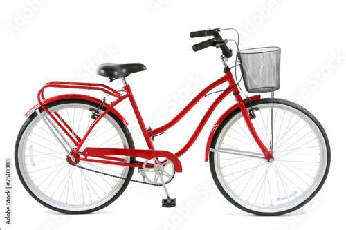 Leinwandbild Motiv Red Bicycle over white background