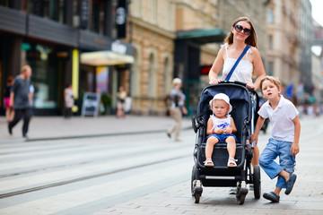 Family walking in city center