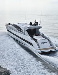 Italy, Tuscany, Tecnomar Velvet 100' luxury yacht, aerial view