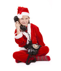 elf listening  to Santa over vintage phone