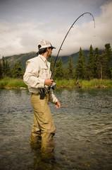Salmon Catch on Kijik Lake near Lake Clark National Park, Alaska