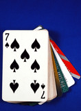 Play cards with credit cards concepts of gambling on credits poster