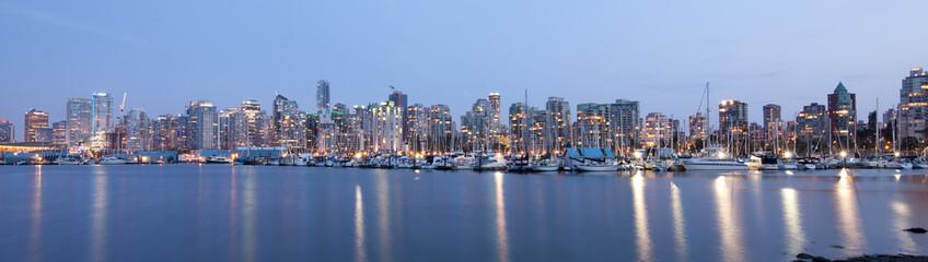 Vancouver skyline panoramic at night