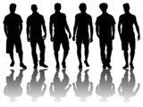 6 silhouettes of men /6