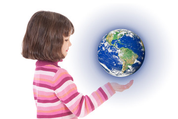 Girl holding world on hand