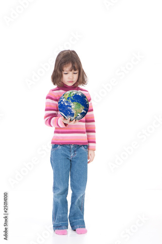 Girl holding world in hand