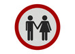 Photo realistic 'male and female couple' sign, isolated on pure