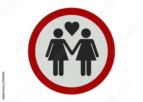 Photo realistic 'female partners' sign, isolated on white