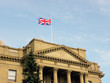 Alberta Legislature building with british flag