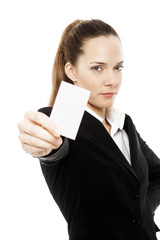 businesswoman holding sheets of paper on white background