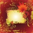 Vector grunge frame with colorful autumn leafs. Thanksgiving