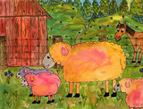 Farm animal collection, watercolor