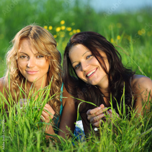 women grass fun
