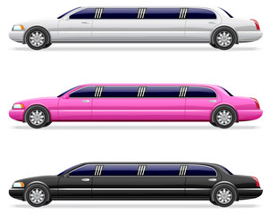 PrintWhite, black and pink limousine.