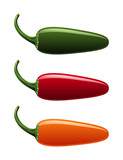 A vector of all jalapeno pepper colors