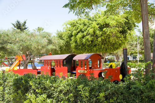 tourist children train park Limassol Cyprus