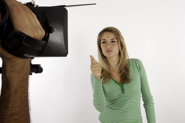 Presenter Explaining Convincingly With Hand Gestures