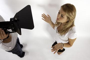 Teen Presenter Explaining Convincingly In Studio