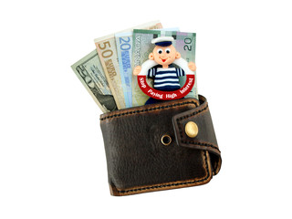 purse with banknotes and funny sign Stop Paying High Interest