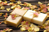 Spa bath setting- soap ,rose withered petals poster
