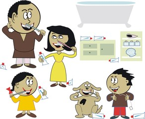 Family cleaning teeth cartoon