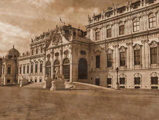 Belvedere-summer palace in Vienna.Retro style.