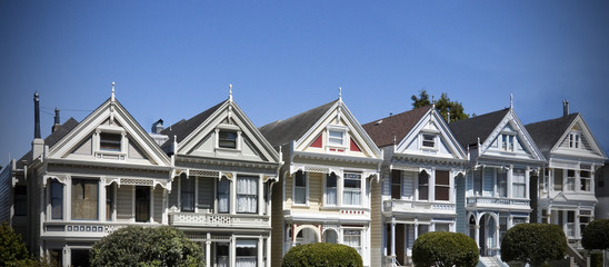 Painted Ladies, a Row of Victorian Houses in San Francisco